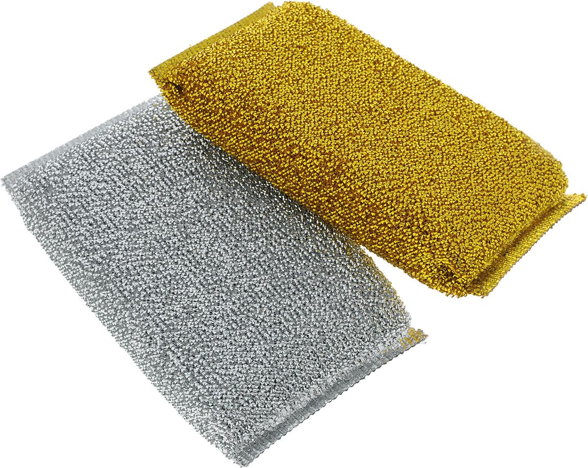 Губка для посуды Хозяюшка Мила Блеск, цвет: золотой, серебряный, 2 шт391602Набор Хозяюшка Мила Блеск состоит из 2 губок, выполненных из поролона в специальной оплетке. Губки предназначены для интенсивной чистки и удаления сильных загрязнений с посуды (противни, решетки-гриль, кастрюли, сковороды), также подходят для чистки раковин. Могут использоваться для деликатных поверхностей. Губки сохраняют чистоту и свежесть даже после многократного применения, а их эргономичная форма удобна для руки.