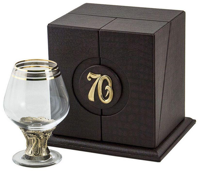 Бокал для бренди Арт-студия Классик 70 лет, 185 мл. БББ-70лет-ОТРCI-428804Латунь точное художественное литье, Богемское стекло с золотым декорированием. Кожаный футляр. DVD диск, открытка.