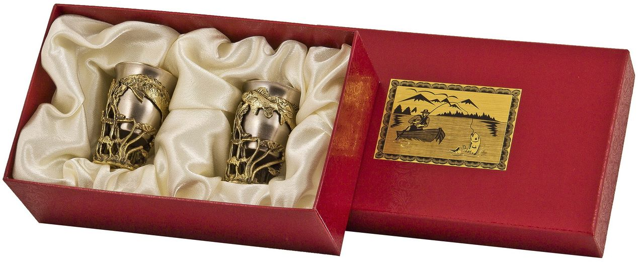 Набор стопок Арт-студия Классик, 2 шт. СР-02VT-1520(SR)латунь точное художественное литье, внутри- покрытие золотом 0,4591 г.