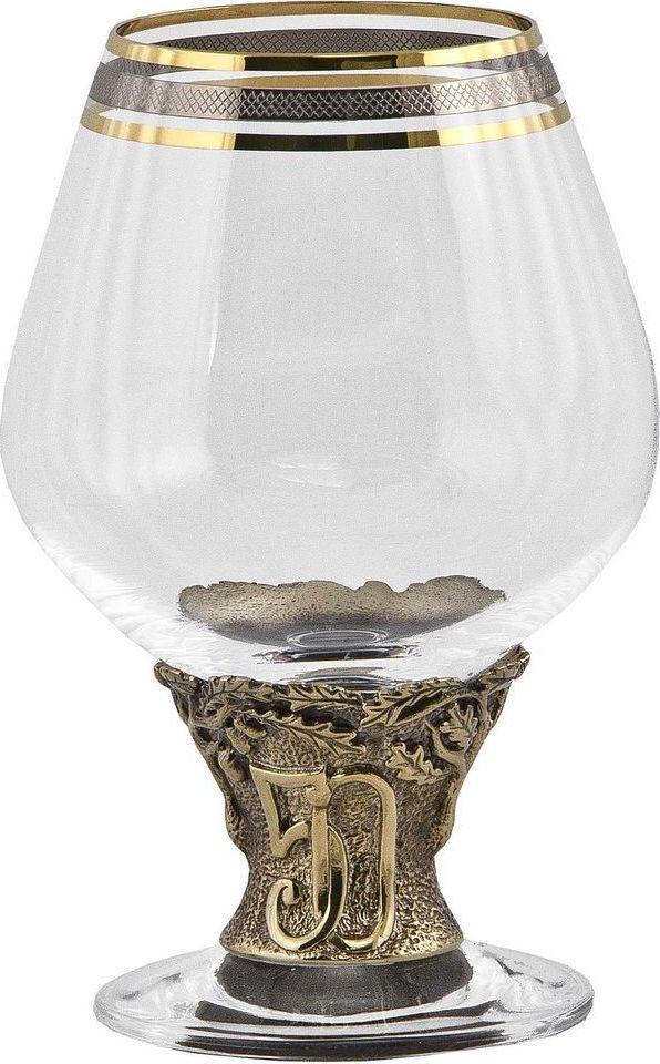 Бокал для бренди Арт-студия Классик 50 лет, 185 мл. БББ-50лет/К44688BЛатунь точное художественное литье, Богемское стекло с золотым декорированием. Упаковка - картон.