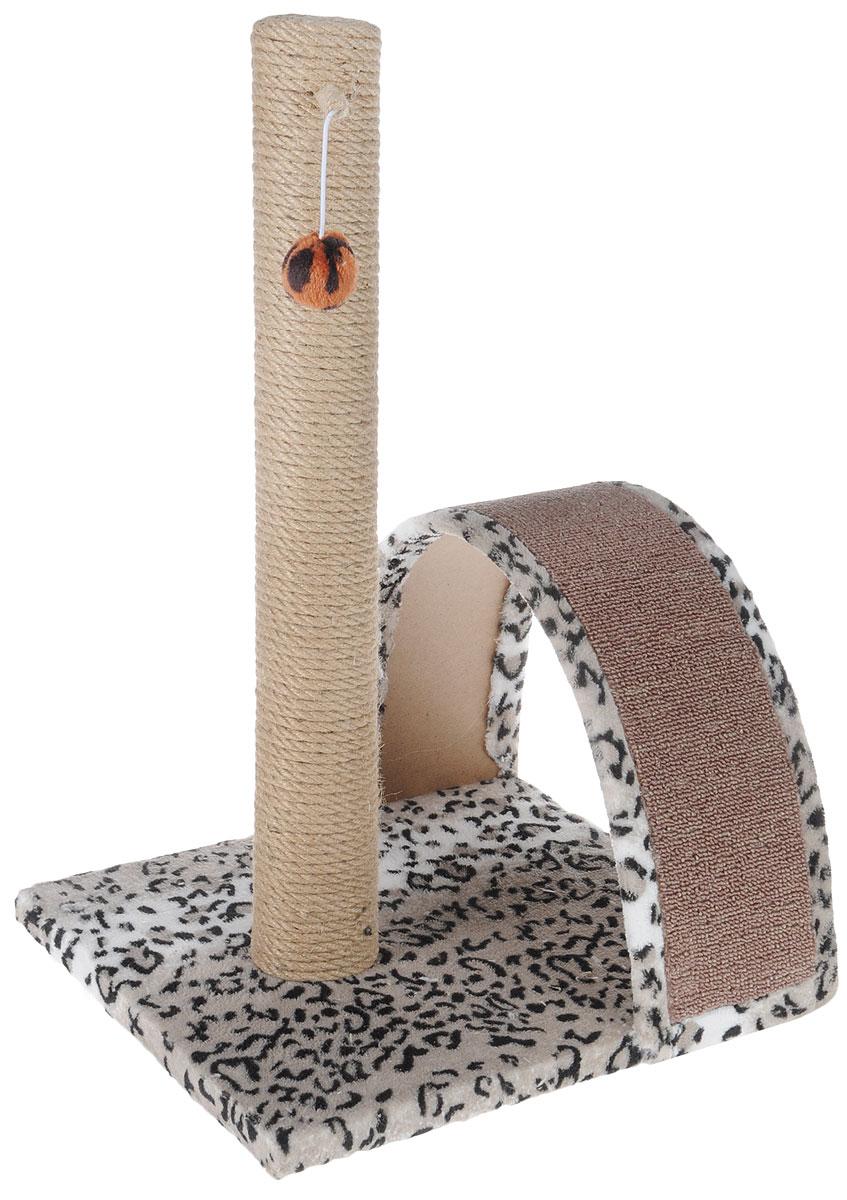 Когтеточка Грызлик Ам Гепард, с игрушкой, 31 x 36 x 54 см0120710Когтеточка Грызлик Ам Гепард выполнена из высококачественного МДФ и обтянута плюшем с принтом под гепарда. Изделие отлично подойдет для стачивания когтей вашей кошки и предотвращения их врастания. Столбик-когтеточка выполнен из джута, а специальная дуга обтянута ковролином. Эти материалы обеспечат естественный уход за когтями питомца, поэтому теперь ваша мебель и стены будут в сохранности. Для игр предусмотрена игрушка-шарик на веревочке. Высота когтеточки: 52 см. Размер дуги: 29 х 26 х 13 см.