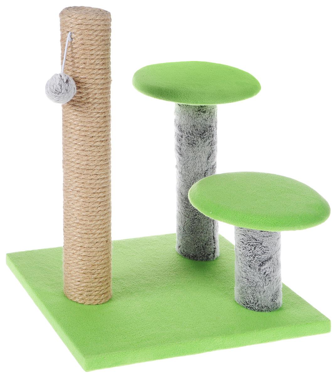 Игровой комплекс для кошек Грызлик Ам Грибы, цвет: зеленый, серый, 30 х 35 x 40 см81128Игровой комплекс для кошек Грызлик Ам Грибы выполнен из высококачественного МДФ и обтянут плюшем. Комплекс состоит из нескольких элементов. Джутовая когтеточка-столбик обеспечит естественный уход за когтями питомца, поэтому теперь ваша мебель и стены будут в сохранности. Для игр предусмотрена игрушка-шарик на веревочке. Две круглые платформы удобны для наблюдений за происходящим.Функциональный игровой комплекс станет излюбленным местом вашего питомца. Оригинальный дизайн отлично впишется в интерьер помещения. Диаметр круглых полок: 18 см. Высота когтеточки: 38 см.