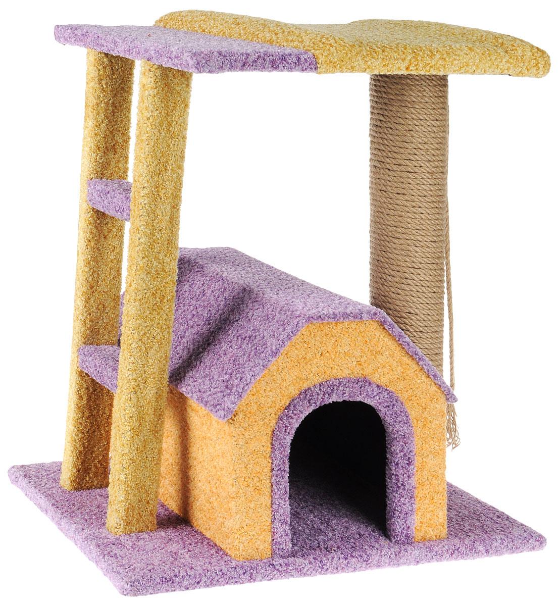 Игровой комплекс для кошек Грызлик Ам Бетси, цвет: фиолетовый, бежевый, 60 x 40 x 60 см0120710Игровой комплекс для кошек Грызлик Ам Бетси выполнен из высококачественного МДФ и обтянут ковролином. Комплекс состоит из нескольких элементов. В домике животное сможет спрятаться от посторонних глаз и отдохнуть. Верхняя полка прекрасно послужит в качестве лежанки и наблюдений за происходящим. Ковролин, из которого сделан комплекс, обеспечивает естественный уход за когтями питомца, поэтому теперь ваша мебель и стены будут в сохранности. Изделие также имеет лесенку. Уютный комплекс для игр и отдыха станет излюбленным местом вашего питомца. Оригинальный дизайн отлично впишется в интерьер помещения. Размер домика: 34 х 38 х 31 см. Размер верхней полки: 50 х 38 см.Общий размер комплекса: 60 х 40 х 60 см.