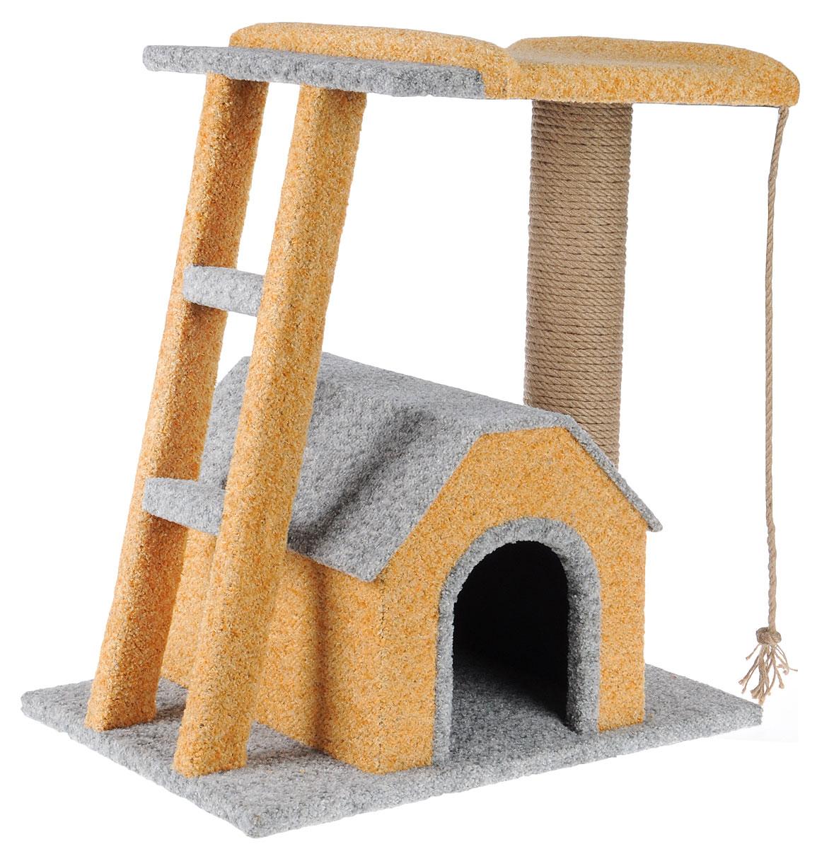 Игровой комплекс для кошек Грызлик Ам Бетси, цвет: серый, песочный, 60 x 40 x 60 см0120710Игровой комплекс для кошек Грызлик Ам Бетси выполнен из высококачественного МДФ и обтянут ковролином. Комплекс состоит из нескольких элементов. В домике животное сможет спрятаться от посторонних глаз и отдохнуть. Верхняя полка прекрасно послужит в качестве лежанки и наблюдений за происходящим. Ковролин, из которого сделан комплекс, обеспечивает естественный уход за когтями питомца, поэтому теперь ваша мебель и стены будут в сохранности. Изделие также имеет лесенку. Уютный комплекс для игр и отдыха станет излюбленным местом вашего питомца. Оригинальный дизайн отлично впишется в интерьер помещения. Размер домика: 34 х 38 х 31 см. Размер верхней полки: 50 х 38 см.Общий размер комплекса: 60 х 40 х 60 см.