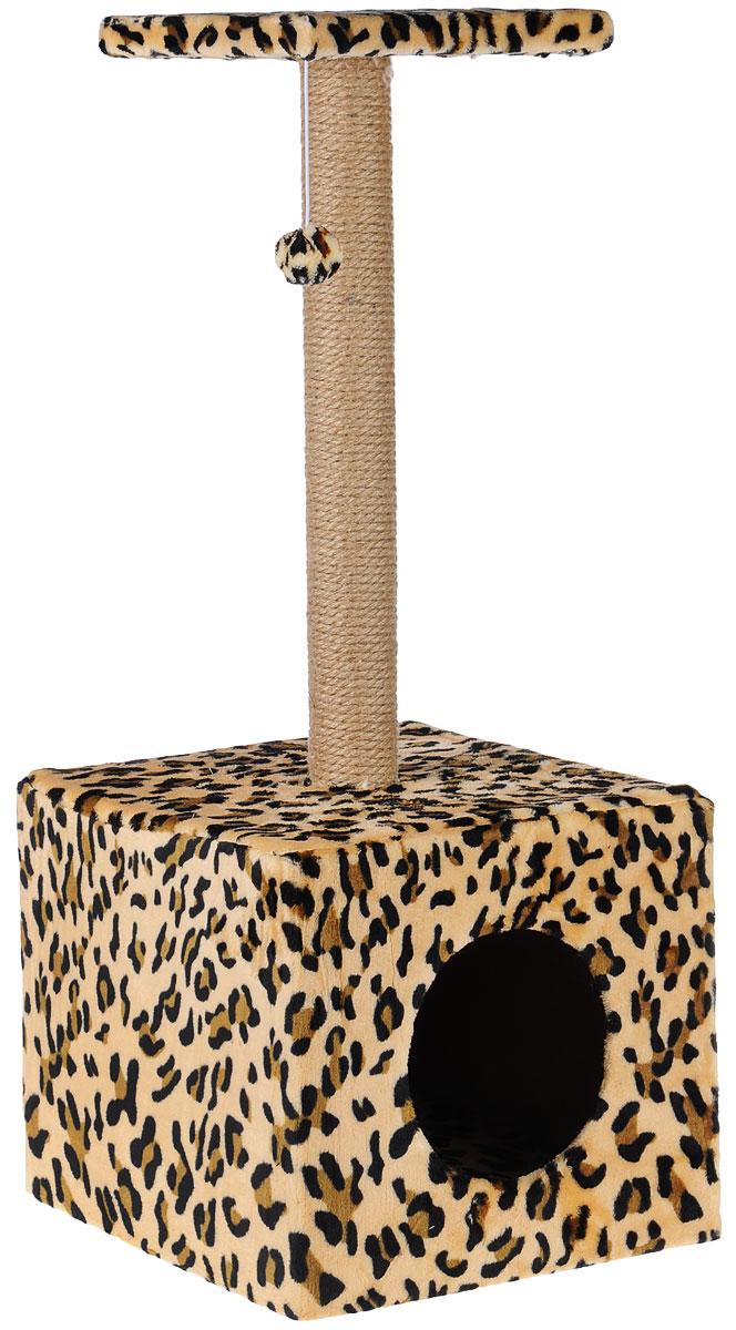 Когтеточка Грызлик Ам Столбик. Куб с площадкой, с игрушкой, цвет: бежевый, 35 х 30 х 85 см0120710Когтеточка Грызлик Ам Столбик. Куб с площадкой выполнена из высококачественного МДФ и обтянута плюшем с принтом под гепарда. Изделие отлично подойдет для стачивания когтей вашей кошки и предотвращения их врастания. Столбик-когтеточка выполнен из джута, а специальная дуга обтянута ковролином. Эти материалы обеспечат естественный уход за когтями питомца, поэтому теперь ваша мебель и стены будут в сохранности. Для игр предусмотрена игрушка-шарик на веревочке. В домике животное сможет спрятаться от посторонних глаз и отдохнуть. Верхняя полка прекрасно послужит в качестве лежанки и наблюдений за происходящим.Размер верхней полки: 26 х 26 см.Размер домика: 36 х 36 х 31 см.