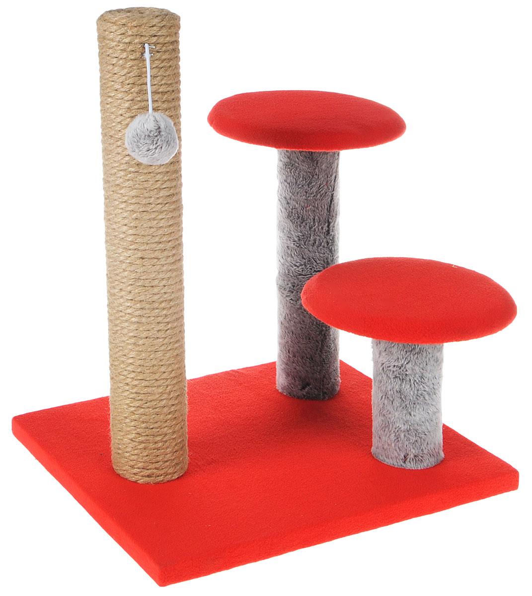 Игровой комплекс для кошек Грызлик Ам Грибы, цвет: красный, серый, 30 х 35 x 40 см0120710Игровой комплекс для кошек Грызлик Ам Грибы выполнен из высококачественного МДФ и обтянут плюшем. Комплекс состоит из нескольких элементов. Джутовая когтеточка-столбик обеспечит естественный уход за когтями питомца, поэтому теперь ваша мебель и стены будут в сохранности. Для игр предусмотрена игрушка-шарик на веревочке. Две круглые платформы удобны для наблюдений за происходящим.Функциональный игровой комплекс станет излюбленным местом вашего питомца. Оригинальный дизайн отлично впишется в интерьер помещения. Диаметр круглых полок: 18 см. Высота когтеточки: 38 см.