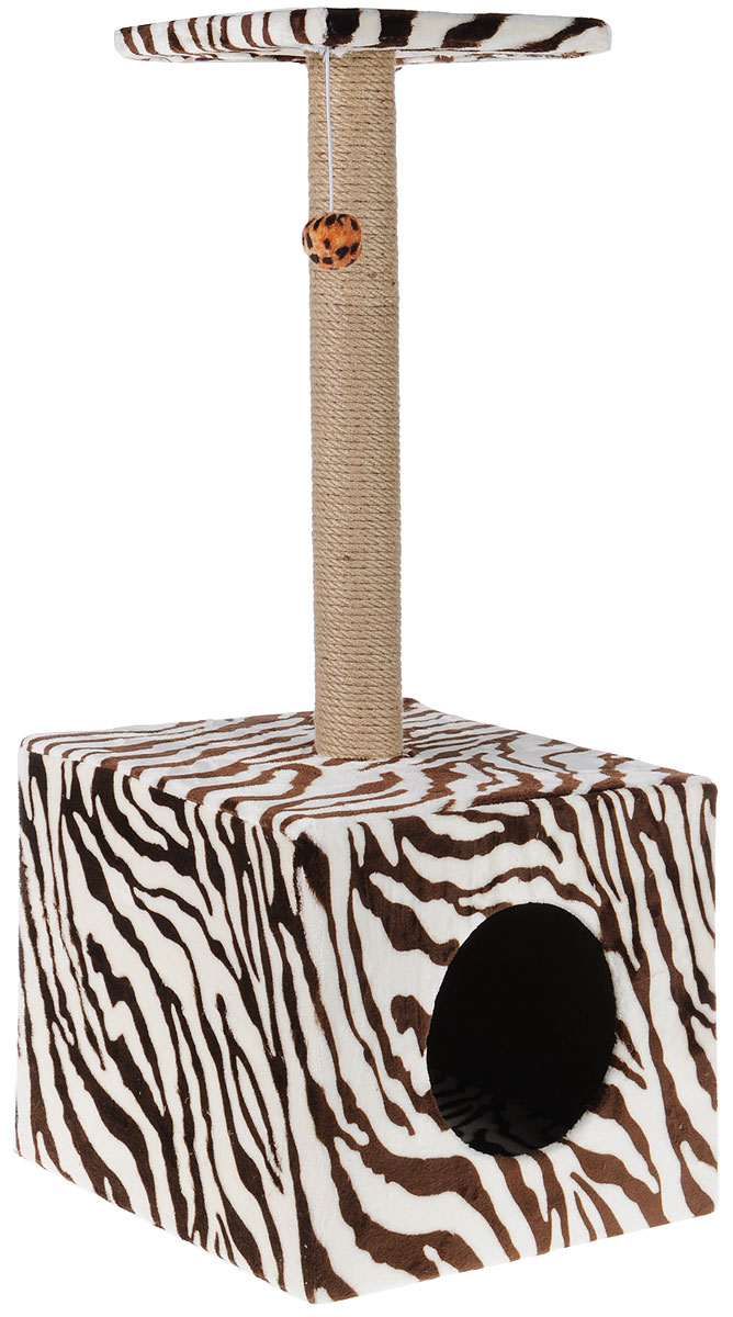 Когтеточка Грызлик Ам Столбик. Куб с площадкой, с игрушкой, цвет: зебра, 35 х 30 х 85 см40.GR.001Когтеточка Грызлик Ам Столбик. Куб с площадкой выполнена из высококачественного МДФ и обтянута плюшем с принтом под гепарда. Изделие отлично подойдет для стачивания когтей вашей кошки и предотвращения их врастания. Столбик-когтеточка выполнен из джута, а специальная дуга обтянута ковролином. Эти материалы обеспечат естественный уход за когтями питомца, поэтому теперь ваша мебель и стены будут в сохранности. Для игр предусмотрена игрушка-шарик на веревочке. В домике животное сможет спрятаться от посторонних глаз и отдохнуть. Верхняя полка прекрасно послужит в качестве лежанки и наблюдений за происходящим.Размер верхней полки: 26 х 26 см.Размер домика: 36 х 36 х 31 см.
