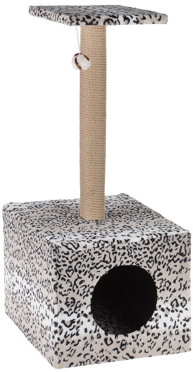 Когтеточка Грызлик Ам Столбик. Куб с площадкой, с игрушкой, цвет: гепард, серый, 35 х 30 х 85 см0120710Когтеточка Грызлик Ам Столбик. Куб с площадкой выполнена из высококачественного МДФ и обтянута плюшем с принтом под гепарда. Изделие отлично подойдет для стачивания когтей вашей кошки и предотвращения их врастания. Столбик-когтеточка выполнен из джута, а специальная дуга обтянута ковролином. Эти материалы обеспечат естественный уход за когтями питомца, поэтому теперь ваша мебель и стены будут в сохранности. Для игр предусмотрена игрушка-шарик на веревочке. В домике животное сможет спрятаться от посторонних глаз и отдохнуть. Верхняя полка прекрасно послужит в качестве лежанки и наблюдений за происходящим.Размер верхней полки: 26 х 26 см.Размер домика: 36 х 36 х 31 см.