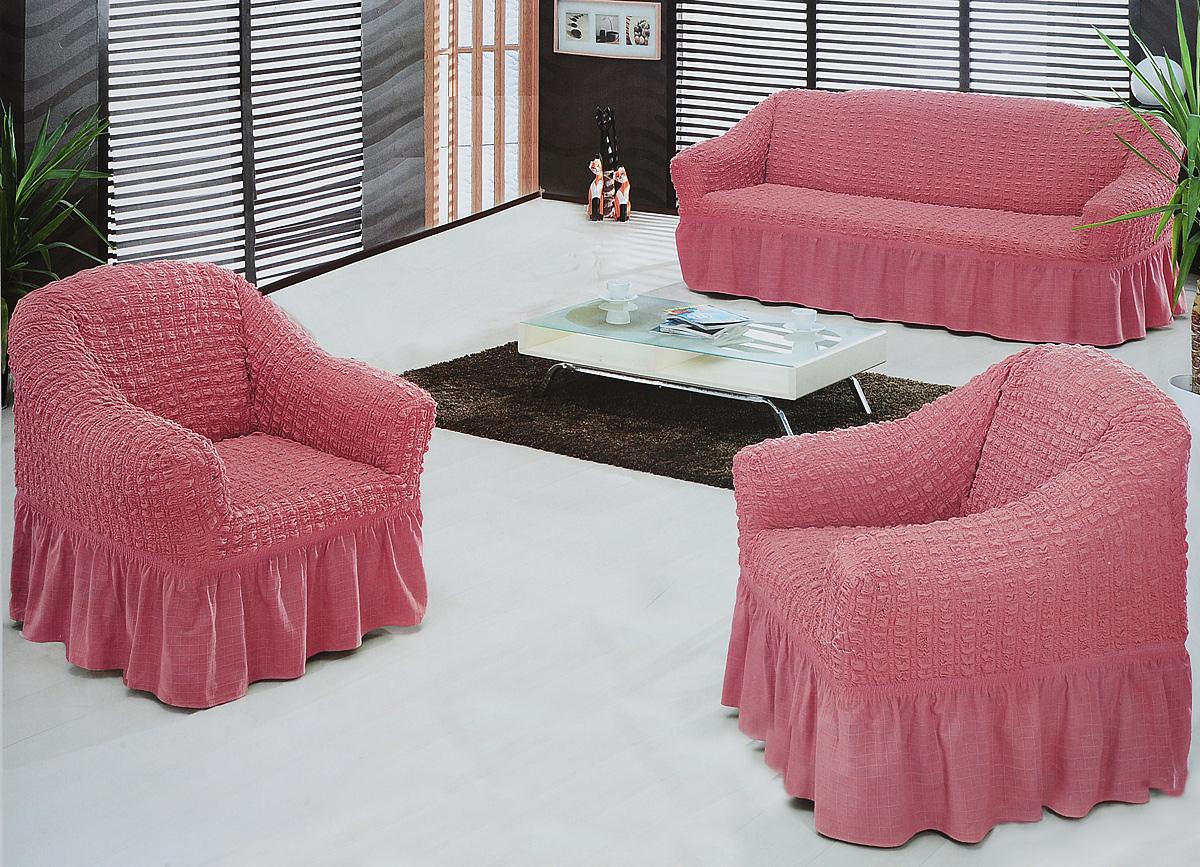 Набор чехлов для мягкой мебели Burumcuk Bulsan, цвет: коралловый, размер: стандарт, 3 шт54 009318Набор чехлов для мягкой мебели Burumcuk Bulsan придаст вашеймебели новый внешний вид. Каждый элемент интерьерануждается в уходе и защите. В большинстве случаевпотертости появляются на диванах и креслах. В набор входят чехол для трехместного дивана и два чехла для кресла. Чехлы изготовлены из 60% полиэстера и 40% хлопка. Такой материал прекрасно переносит нагрузки, долго не стареет и его просто очистить от грязи. Набор чехлов Karna Bulsan создан для тех, кто не планирует покупать новую мебель каждый год.Размер кресла:Ширина и глубина посадочного места: 70-80 см.Высота спинки от посадочного места: 70-80 см.Высота подлокотников: 35-45 см.Ширина подлокотников: 25-35 см.Высота юбки: 35 см.Размер дивана:Ширина посадочного места: 210-260 см.Глубина посадочного места: 70-80 см.Высота спинки от посадочного места: 70-80 см.Ширина подлокотников: 25-35 см.Высота юбки: 35 см.