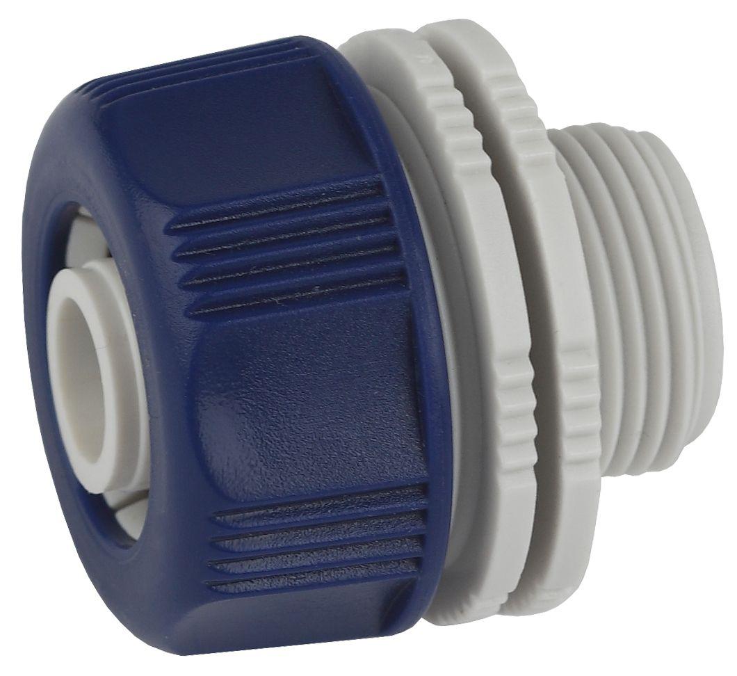 Адаптер для шланга Green Apple ЕСО, с наружной резьбой, 19 мм (3/4)106-026Применяется в качестве переходника между соединителем и водопроводной трубой или краном с внутренней резьбой 3/4