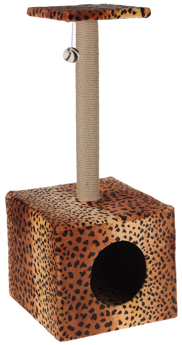 Когтеточка Грызлик Ам Столбик. Куб с площадкой, с игрушкой, цвет: леопард, 35 х 30 х 85 см0120710Когтеточка Грызлик Ам Столбик. Куб с площадкой выполнена из высококачественного МДФ и обтянута плюшем с принтом под гепарда. Изделие отлично подойдет для стачивания когтей вашей кошки и предотвращения их врастания. Столбик-когтеточка выполнен из джута, а специальная дуга обтянута ковролином. Эти материалы обеспечат естественный уход за когтями питомца, поэтому теперь ваша мебель и стены будут в сохранности. Для игр предусмотрена игрушка-шарик на веревочке. В домике животное сможет спрятаться от посторонних глаз и отдохнуть. Верхняя полка прекрасно послужит в качестве лежанки и наблюдений за происходящим.Размер верхней полки: 26 х 26 см.Размер домика: 36 х 36 х 31 см.