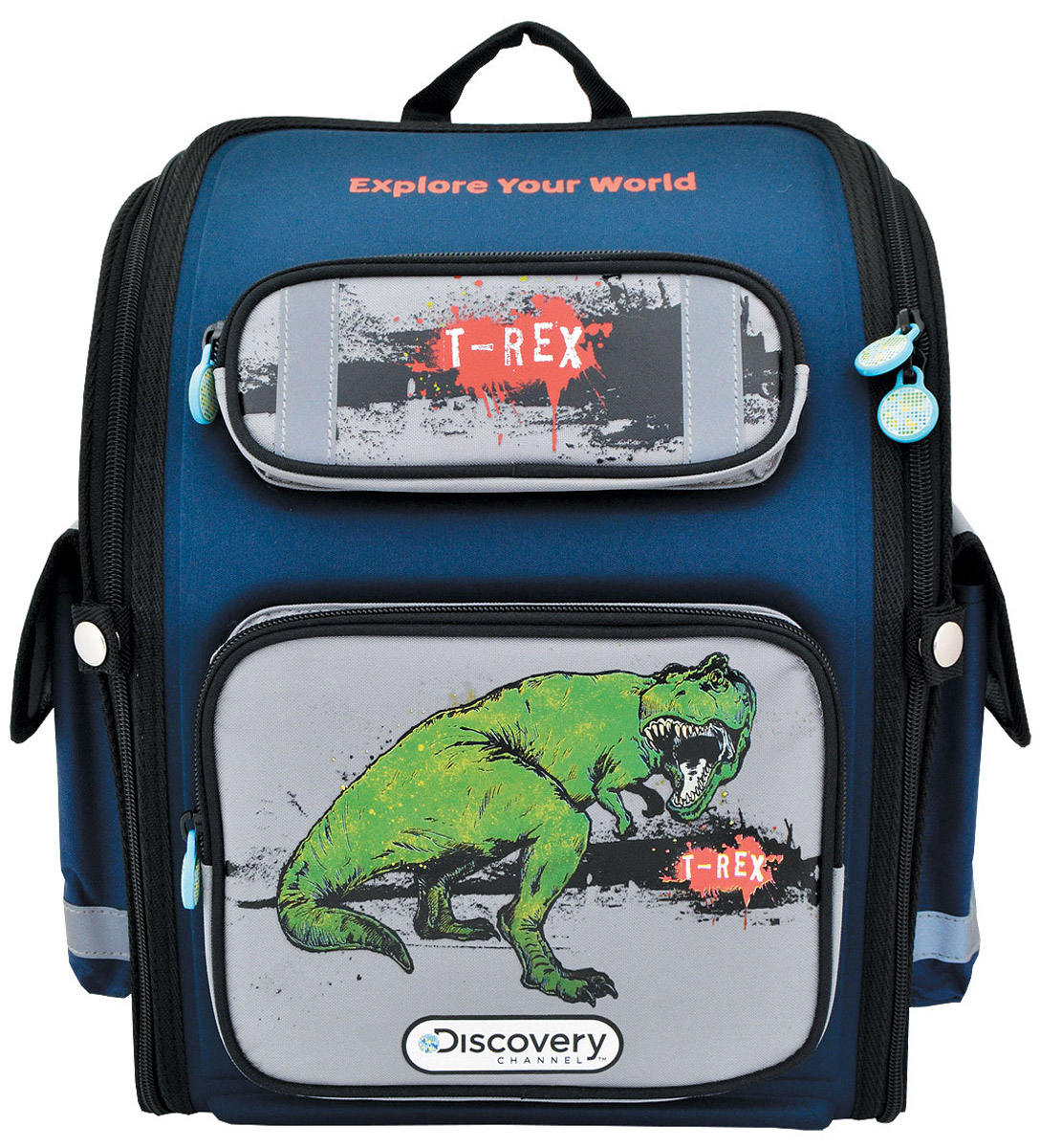 Action! Ранец школьный Discovery T-Rex цвет синийDV-ASB2000/3Лицензионный дизайн Discovery. Возможность плоской раскладки позволяет удобно и экономично транспортировать данную модель. Вес ранца около 700 гр. Рассчитан на объем до 14 л. Жесткая рельефная спинка с продольной анатомической формой. Рельефная спинка создает дополнительный массажный эффект для спины, что позволяет чувствовать себя более удобно и комфортно. Задние эластичные регулируемые ремни позволяют правильно распределить рюкзак на спине. Имеются светоотражающие полоски безопасности. Одно основное отделение с дополнительными внутренними отделениями. Имеется расписание уроков. 4 кармана: два боковых : на липучке и с сеточкой, два передних . Карманы имеют светоотражающие полоски безопасности. Светоотражающие полоски безопасности на верхнем кармане. Ограничители степени раскрытия молнии. Прижимной ремень на талию. На молниях имеются декоративные лицензионные элементы. Внизу ножки для дополнительной устйчивости. Ручка тканевая плотная. Имеется расписание уроков.
