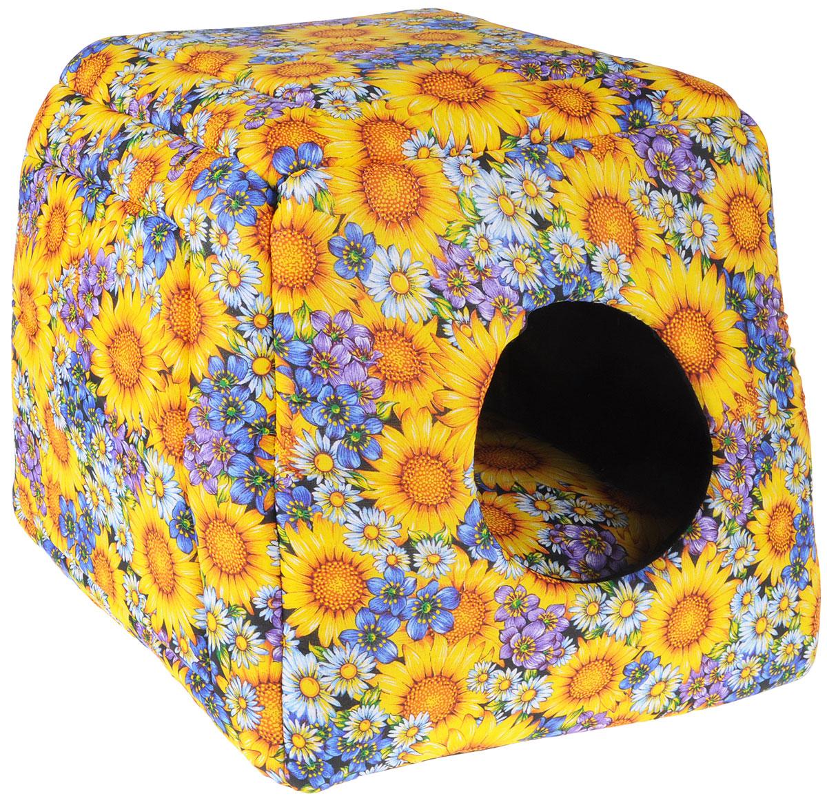 Домик-трансформер для животных Грызлик Ам Подсолнухи, 40 x 40 x 40 см40.GR.121Домик-куб для животных Грызлик Ам обязательно понравится вашему питомцу. Изделие выполнено из высококачественного поплина с ярким цветочным принтом. В качестве наполнителя используется поролон, который прекрасно держит форму изделия. Основание и внутренняя поверхность отделана нетканым волокном. Домик снабжен круглым входом, внутри животное сможет укрыться от посторонних взглядов и отдохнуть. Преимущество изделия заключается в том, что домик легко трансформируется в лежак с высокими бортиками. Домик дополнен мягкой съемной подушкой с синтепоном внутри. Изделие подходит для кошек и собак. Уютный домик станет излюбленным местом вашего питомца, подарит ему спокойный и комфортный сон, а также убережет вашу мебель от шерсти.Размер лежака: 40 х 40 х 20 см.Размер домика: 40 х 40 х 40 см.