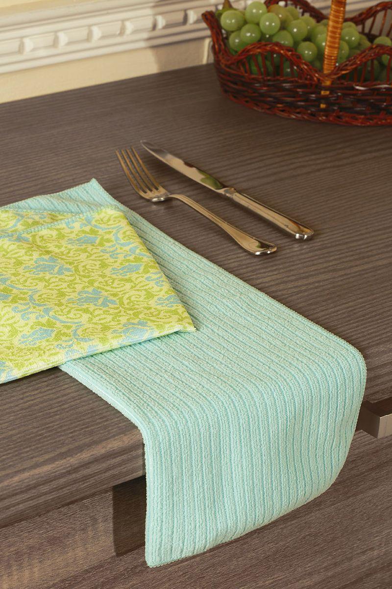 Набор кухонных полотенец Primavelle, цвет: бирюзовый, 40 х 50 см, 2 шт. НП31940482VT-1520(SR)Набор универсальных кухонных полотенец из микрофибры. Можно использовать как для рук, так и для посуды или уборки со стола. Полотенца моментально впитывают влагу. Просты в уходе: легко стираются, не теряют цвет и форму после нее, быстро сохнут. Набор состоит из двух полотенец размером 40х50 см. Одно полотенце с рисунком, другое однотонное с фактурой рубчик. Порадуйте себя и своих близких новыми полотенцами для кухни от Primavelle.