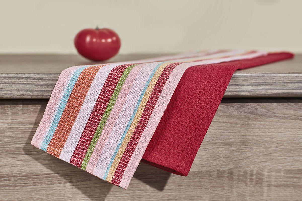 Набор кухонных полотенец Primavelle, цвет: бордовый, 40 х 60 см, 2 шт. НП355406021004900000360Кухонный набор из 2-х вафельных полотенец - практичная новинка для Вашей кухни. Полотенца легко стираются и стойки к выцветанию.