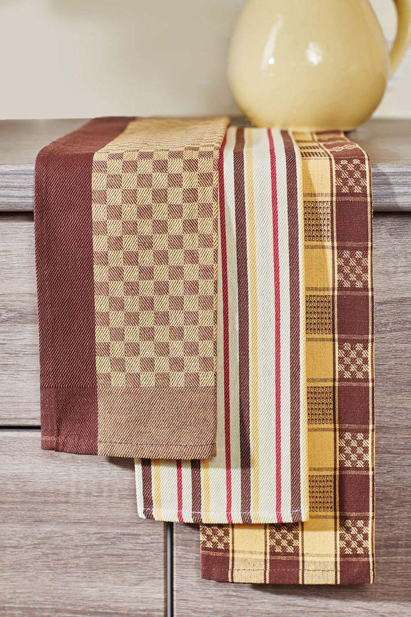 Набор кухонных полотенец Primavelle, цвет: коричневый, 40 х 60 см, 3 шт. НП38540603VT-1520(SR)Кухонный набор из 3-х жаккардовых полотенец - практичная новинка для Вашей кухни. Полотенца легко стираются и стойки к выцветанию.
