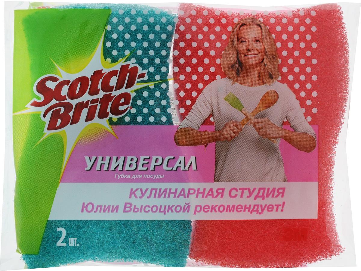 Губка для посуды Scotch-Brite, универсальная, 2 шт116-01-4557/4782Универсальная губка для мытья посуды Scotch-Brite предназначена для эффективной и бережной чистки сильных загрязнений с посуды (противни, решетки-гриль, кастрюли). Губка выполнена из пенополиуретана и снабжена абразивным слоем.