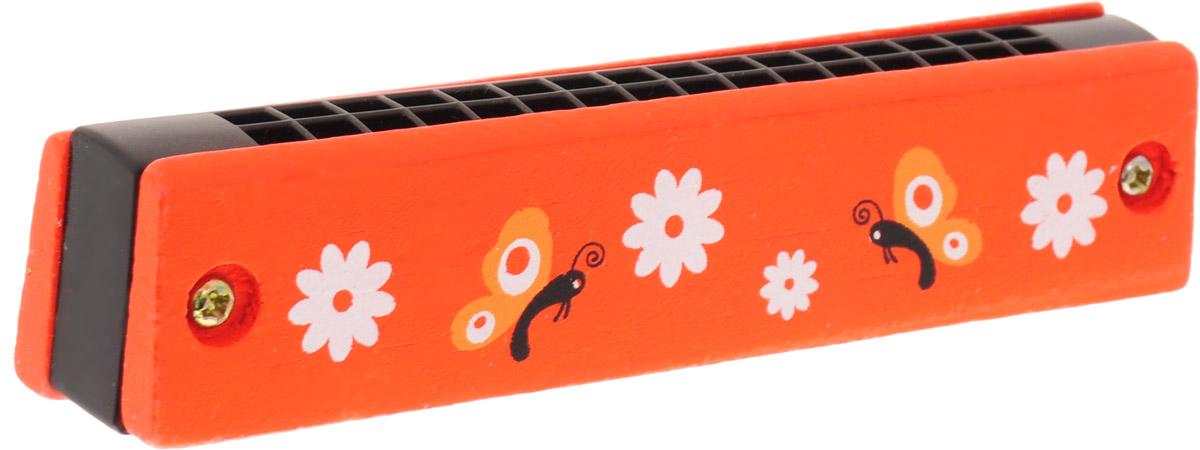 Фабрика Фантазий Губная гармошка Бабочки и цветы цвет оранжевый