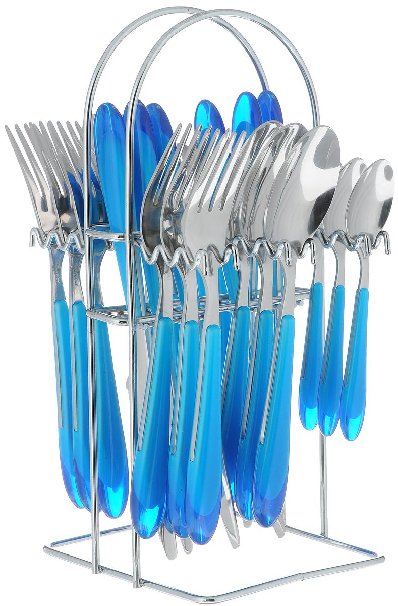 Набор столовых приборов Barton Steel, на подставке, цвет: серый, синий, 25 предметов8425BS_серый, синийНабор столовых приборов Barton Steel включает 6 столовых ножей, 6 столовых ложек, 6 столовых вилок, 6 чайных ложек и подставку. Приборы выполнены из высококачественной нержавеющей стали и снабжены пластиковыми ручками. Прекрасное сочетание свежего дизайна и удобство использования предметов набора придется по душе каждому.Набор столовых приборов Barton Steel подойдет для сервировки стола как дома, так и на даче и всегда будет важной частью трапезы, а также станет замечательным подарком.Длина ножей: 22,5 см.Длина столовых ложек: 20 см.Длина вилок: 20 см.Длина чайных ложек: 14 см.Размер подставки: 14 х 12,5 х 28 см.