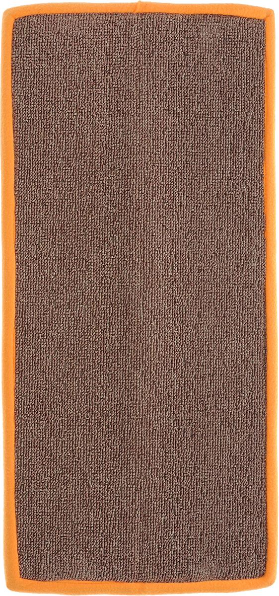 Когтеточка Грызлик Ам, угловая, с пропиткой, цвет: оранжевый, коричневый, 57 х 13 см81126Угловая когтеточка Грызлик Ам предназначена для стачивания когтей вашей кошки и предотвращения их врастания. Изделие выполнено из ДВП и ковролина, края отделаны искусственным мехом. Изделие снабжено специальными отверстиями для крепления. Ковролин обеспечивает естественный уход за когтями питомца. Специальная пропитка привлекает внимание кошки, что позволяет сохранить неповрежденными мебель и другие предметы интерьера. Угловая когтеточка может крепиться на смежных поверхностях стен и пола.