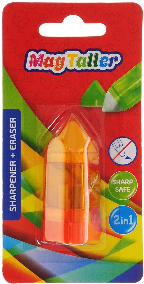 MagTaller Точилка Tupla с ластиком цвет оранжевыйFS-36054Точилка MagTaller Tupla изготовлена с одним отверстием и оснащена контейнером для стружек и ластиком. Дизайн точилки напоминает трехгранный карандаш. Точилка предназначена для всех типов карандашей.