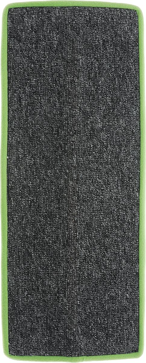 Когтеточка Грызлик Ам, угловая, с пропиткой, цвет: салатовый, серый, 55 x 11 см81121Угловая когтеточка Грызлик Ам предназначена для стачивания когтей вашей кошки и предотвращения их врастания. Изделие выполнено из ДВП и ковролина, края отделаны искусственным мехом. Изделие снабжено специальными отверстиями для крепления. Ковролин обеспечивает естественный уход за когтями питомца. Специальная пропитка привлекает внимание кошки, что позволяет сохранить неповрежденными мебель и другие предметы интерьера. Угловая когтеточка может крепиться на смежных поверхностях стен и пола.