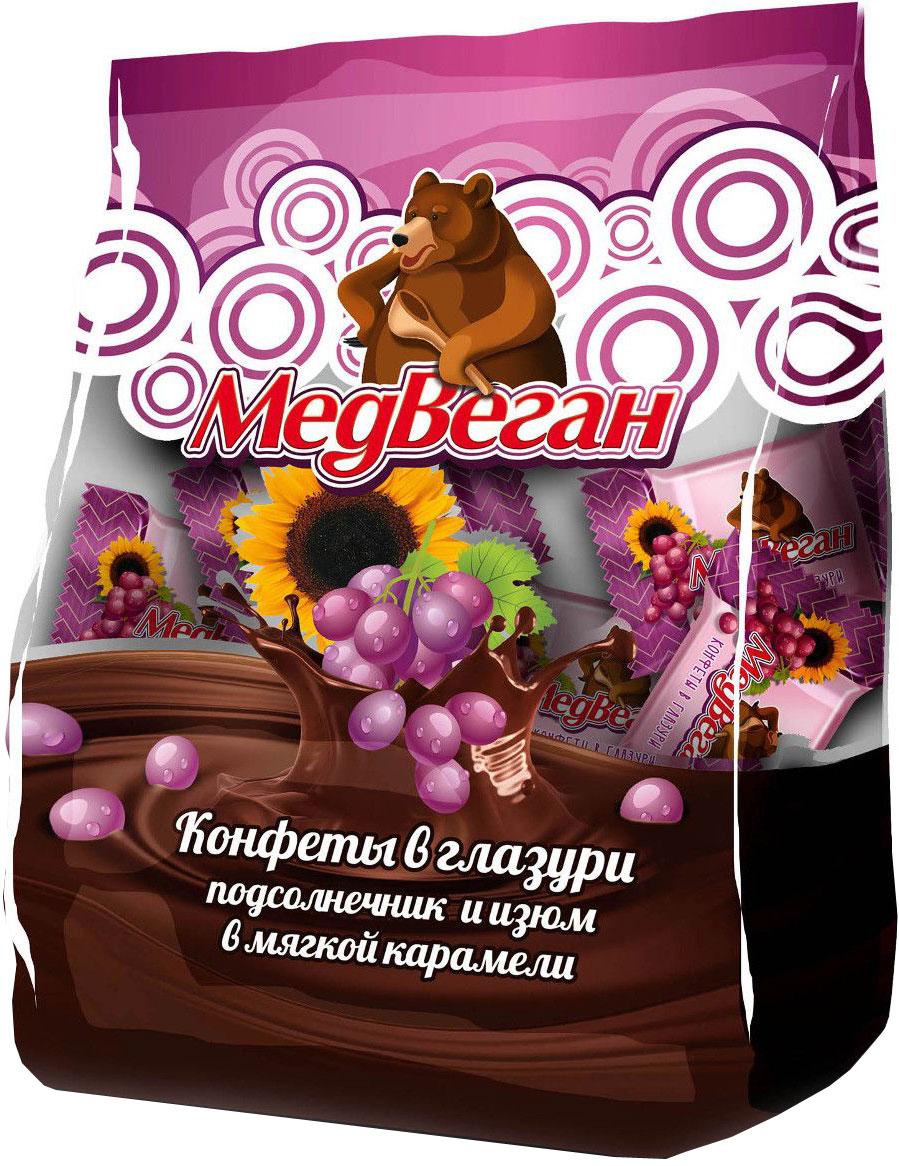 Медвеган конфеты глазированные подсолнечник и изюм в мягкой карамели, 345 г0120710Оригинальные конфеты с обжаренными семенами подсолнечника и изюмом в мягкой карамели.