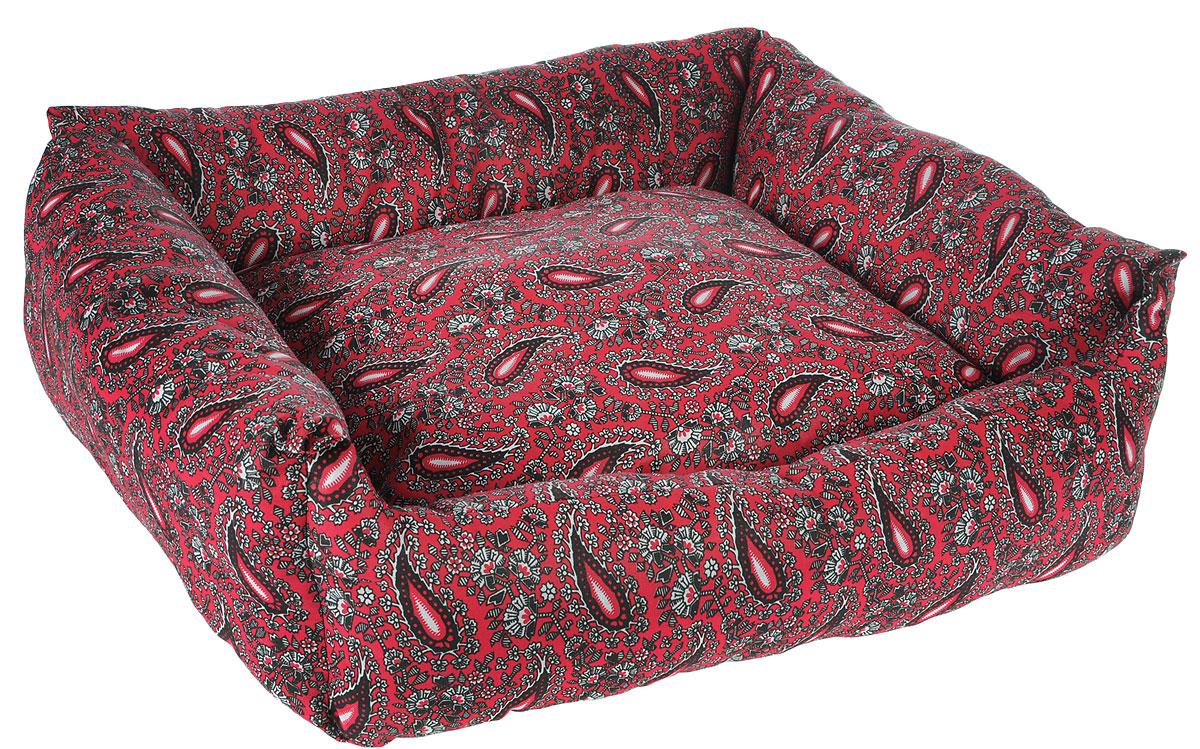 Лежак для животных Грызлик Ам, цвет: бордовый, 57 x 45 x 16 см0120710Лежак для животных Грызлик Ам обязательно понравится вашему питомцу. Изделие выполнено из высококачественного поплина с яркой расцветкой. В качестве наполнителя используется синтепон, который прекрасно держит форму. Лежак дополнен мягкой подушкой. Основание лежака отделано нетканым волокном. Лежак подходит для кошек и собак. Мягкий лежак станет излюбленным местом вашего питомца, подарит ему спокойный и комфортный сон, а также убережет вашу мебель от шерсти.