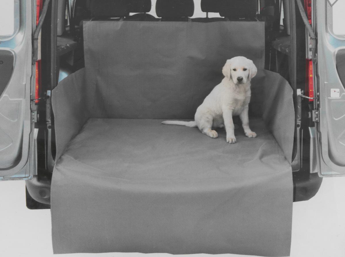 Накидка для перевозки собак в багажнике автомобиля Comfort Address, цвет: серый, 120 см х 150 см х 70 см. daf 049 S72/14/11Накидка Comfort Address выполнена из прочного водоотталкивающего материала и предназначена для перевозки собак и других животных в багажнике автомобиля. Накидка защищает дно и боковые стенки багажника. Спинка задних сидений так же закрыта от грязи и повреждений. Дополнительная накидка защитит бампер от повреждений. Накидка универсальна, подходит для любых типов и размеров багажников. Удобна при перевозке не только животных, но и груза, который может загрязнить багажник. Характеристики: Материал: ПВХ. Цвет: серый. Ширина: 120 см. Глубина: 100 см. Высота фронтального борта: 70 см. Высота боковых бортов: 40 см. Защита на бампер: 120 см х 50 см. Размер упаковки: 33 см х 44 см х 4 см. Артикул: daf 049 S.