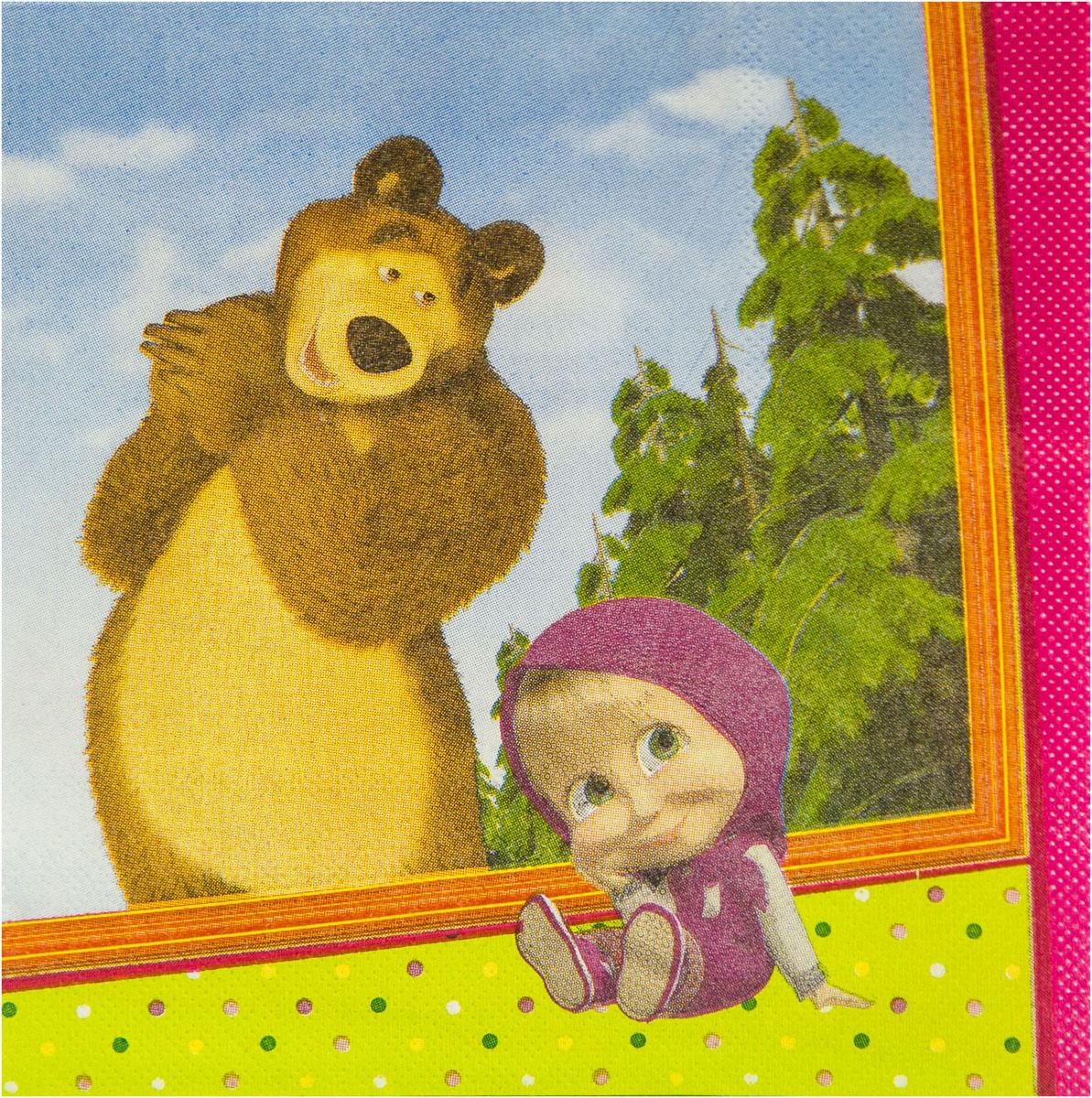Веселая затея Салфетка Маша и Медведь 25 см 12 шт
