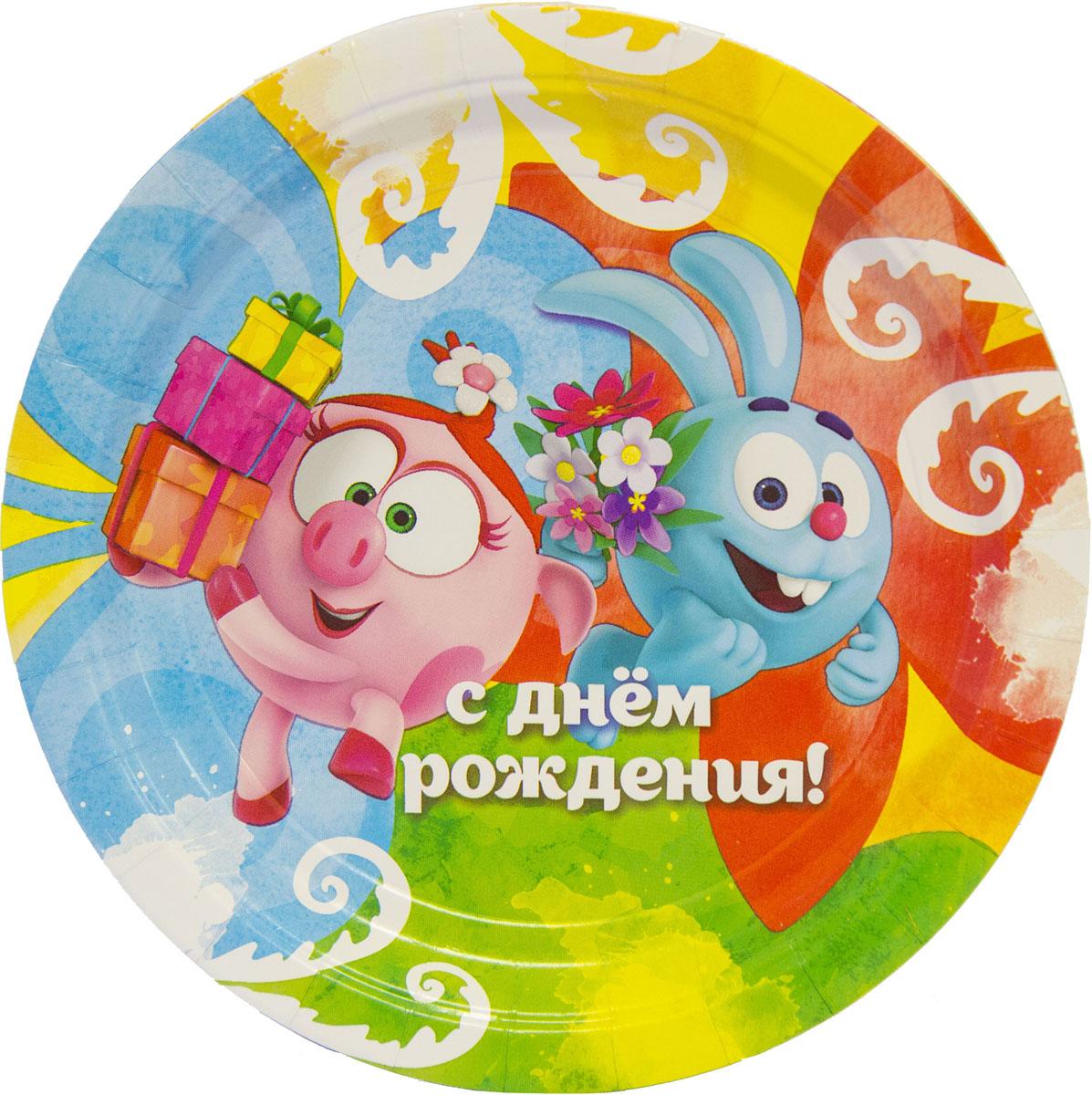 Amscan Тарелка Смешарики Акварель 23 см 8 шт -  Сервировка праздничного стола