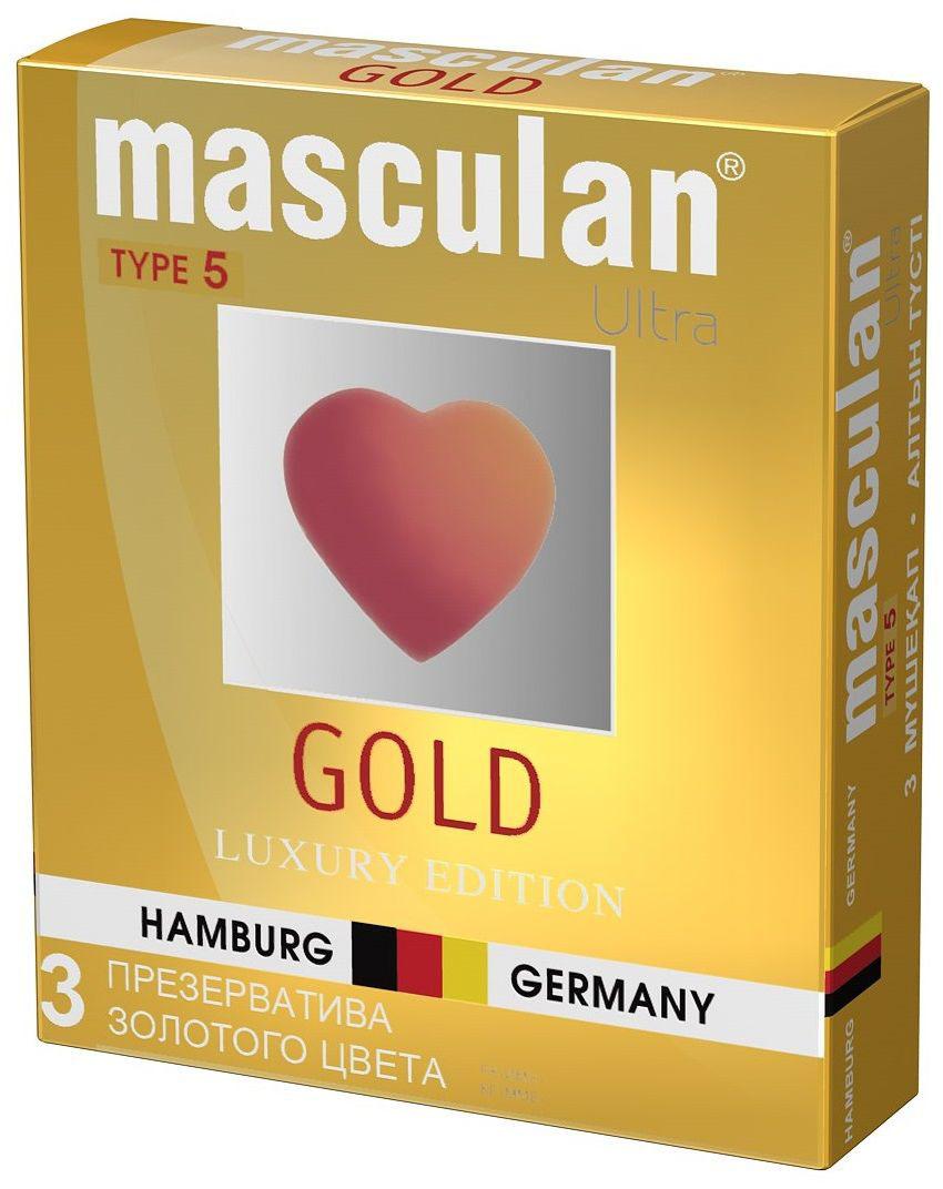 Masculan Презервативы 5 Ultra №3, утонченный латекс, цвет: золотой