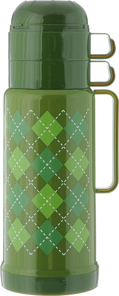 Термос Attribute Tartan, c 2 чашами, цвет: зеленый, салатовый, 1 л95916-912-00Термос Attribute Tartan выполнен из высококачественного пластика и оснащен стеклянной колбой. Его температурная характеристика ни в чем не уступает термосам со стальными колбами, но благодаря свойствам стекла этот термос может быть использован для заваривания напитков с устойчивыми ароматами. В комплекте с термосом - две одинаковые чашки. Завинчивающаяся герметичная крышка предохранит от проливаний. Этот термос станет не только надежным другом в походе, но и отличным украшением вашей кухни.Высота термоса (без учета крышки): 27 см.Диаметр основания: 11 см.Диаметр горлышка (по верхнему краю): 6 см.Диаметр чашки: 9 см.Ширина чашки (с учетом ручки): 12 см.Высота чашки: 6,5 см.