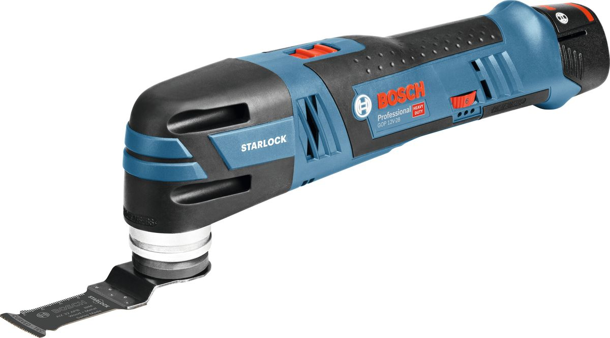 Аккумуляторный многофункциональный инструмент Bosch GOP 12V-28, без акк и з/у. 06018B50013 05 01 033Мощный бесщеточный двигатель, абсолютный контроль благодаря малому обхвату рукоятки и компактному размеру, магнитный патрон, отличная эргономика, настройки скорости колебаний. Посадка Starlock, версия без аккумуляторов, 1 предмет оснастки.Напряжение - 12В, Угол колебаний (слева/справа) - 2.8 (по 1.4 в каждую сторону); Частота вращений на холостом ходу - 5.000–20.000; Размер обхвата рукоятки - 162 мм.