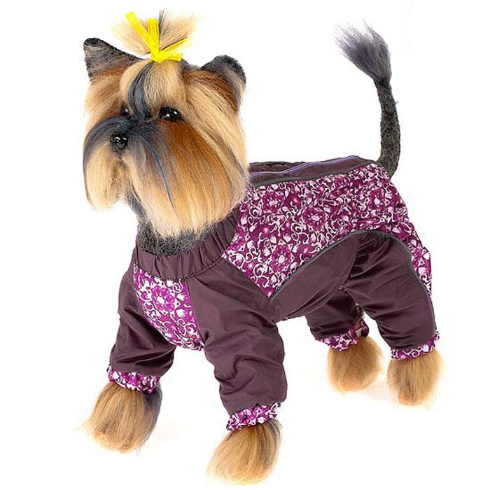 Комбинезон для собак Happy Puppy  Арабески , для девочки, цвет: фиолетовый. Размер 3 (L)