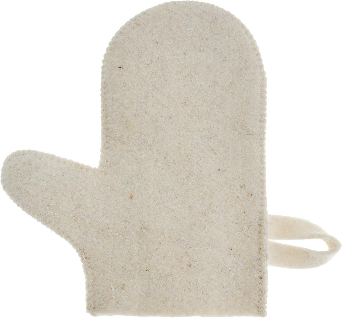 Рукавица для бани и сауны Prime Sauna391602Рукавица Главбаня Prime Sauna, изготовленная из войлока, - незаменимый банный атрибут. Изделие оснащено петелькой для подвешивания на крючок. Такая рукавица защищает руки от горячего пара, делает комфортным пребывание в парной. Также ею можно прекрасно промассировать тело.Размер: 26 х 21,5 см.Материал: войлок (80% шерсть, 20% лавсан).