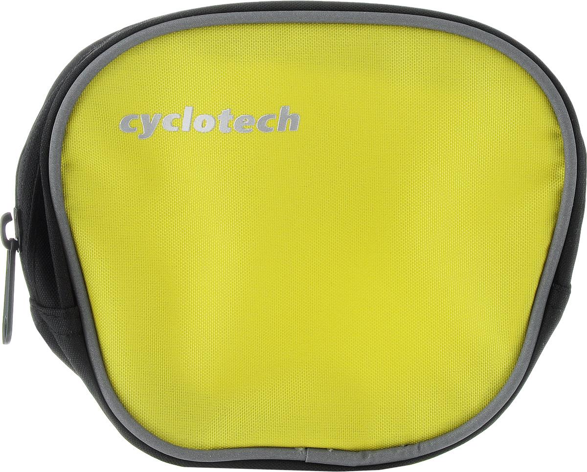 Велосумка на руль Cyclotech, цвет: желтый, черныйBSB-51Велосипедная сумка Cyclotech выполнена из высококачественного прочного полиэстера. В ней можно перевозить инструменты, ключи и другие небольшие личные вещи. Сумка закрепляется на руле при помощи 3 липучек. Изделие оснащено 1 отделением на застежке-молнии.