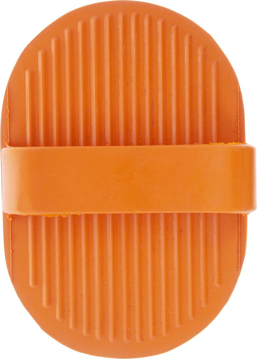 Щетка для собак Nobby, цвет: оранжевый, 13 х 9 см. 726400120710Специальная овальная форма щетки для собак Nobby облегчает использование ее в домашних условиях на густых и жестких волосах животных. Концы резиновых щетинок с четырьмя зубцами позволяют удалять мертвые волосы на теле животного, а также пыль и грязь. Идеально использовать для мытья собаки.Размер щетки: 13 х 9 см.Высота с учетом ручки: 4 см.