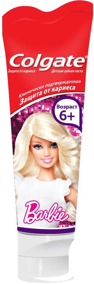 Colgate Зубная паста для детей Barbie, Spiderman 6+, 75 мл5010777139655Эта зубная паста специально разработана для вашего ребенка. Она идеально подходит для основных этапов развития навыков гигиены полости рта, через которые проходит любой малыш, а благодаря яркому, привлекательному дизайну тюбика и фруктовому вкусу зубной пасты ежедневная чистка зубов станет удовольствием для вашего ребенка. Специальная формула с оптимальным содержанием фтора для нежных детских зубов разработана в соответствии с рекомендациями стоматологов. Великолепный фруктовый вкус, забавные пластинки, входящие в состав зубной пасты-геля, превратят чистку зубов в интересную игру. Специально разработана для детей от 6 лет. Детям до 6 лет рекомендуется использовать количество зубной пасты размером с горошину под присмотром взрослых. Не глотать.