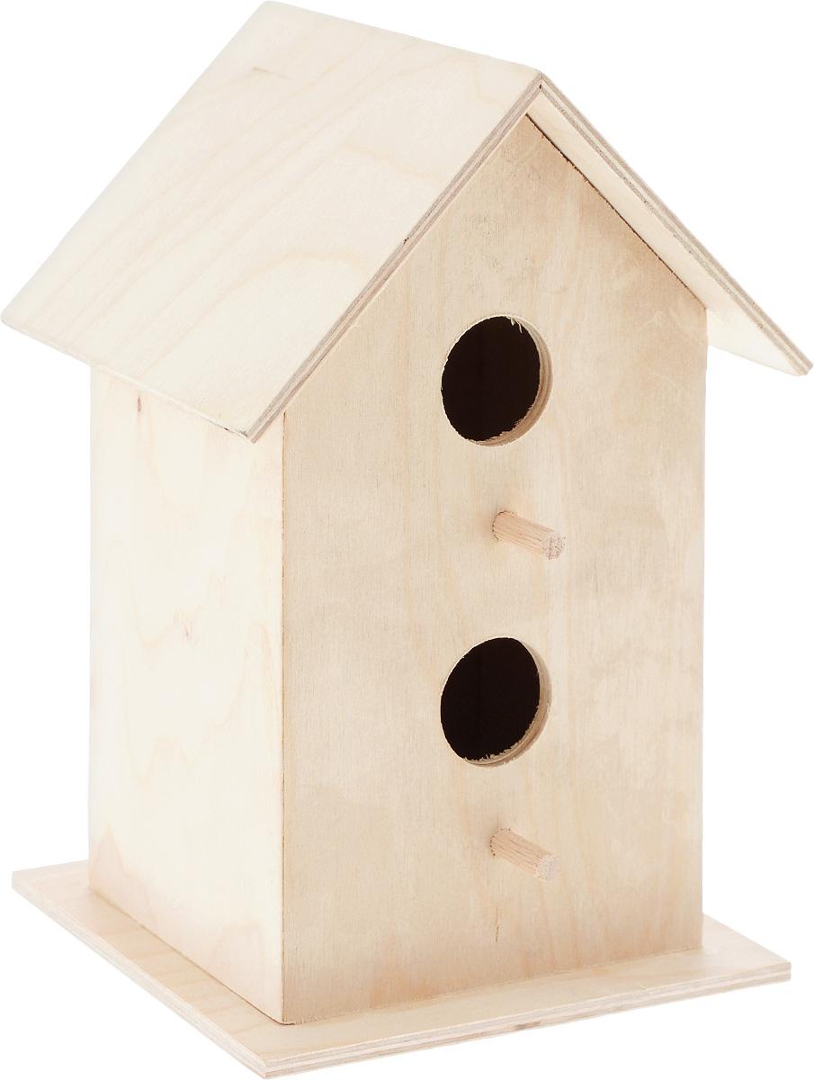 Скворечник Garden Show, двойной, 21,5 х 11,5 х 14 смC0038550Скворечник Garden Show, изготовленный из натурального дерева - отличный способ познакомить ребенка с природой и научить его бережно относится к животным, ухаживая за ними, но не оставляя птицу в доме. Скворечник станет замечательным украшением дачи, а щебетание птиц добавит уюта и заставит вспомнить преимущества жизни за городом. На передней стенке скворечника расположены два входа.Размеры скворечника: 21,5 х 11,5 х 14 см.