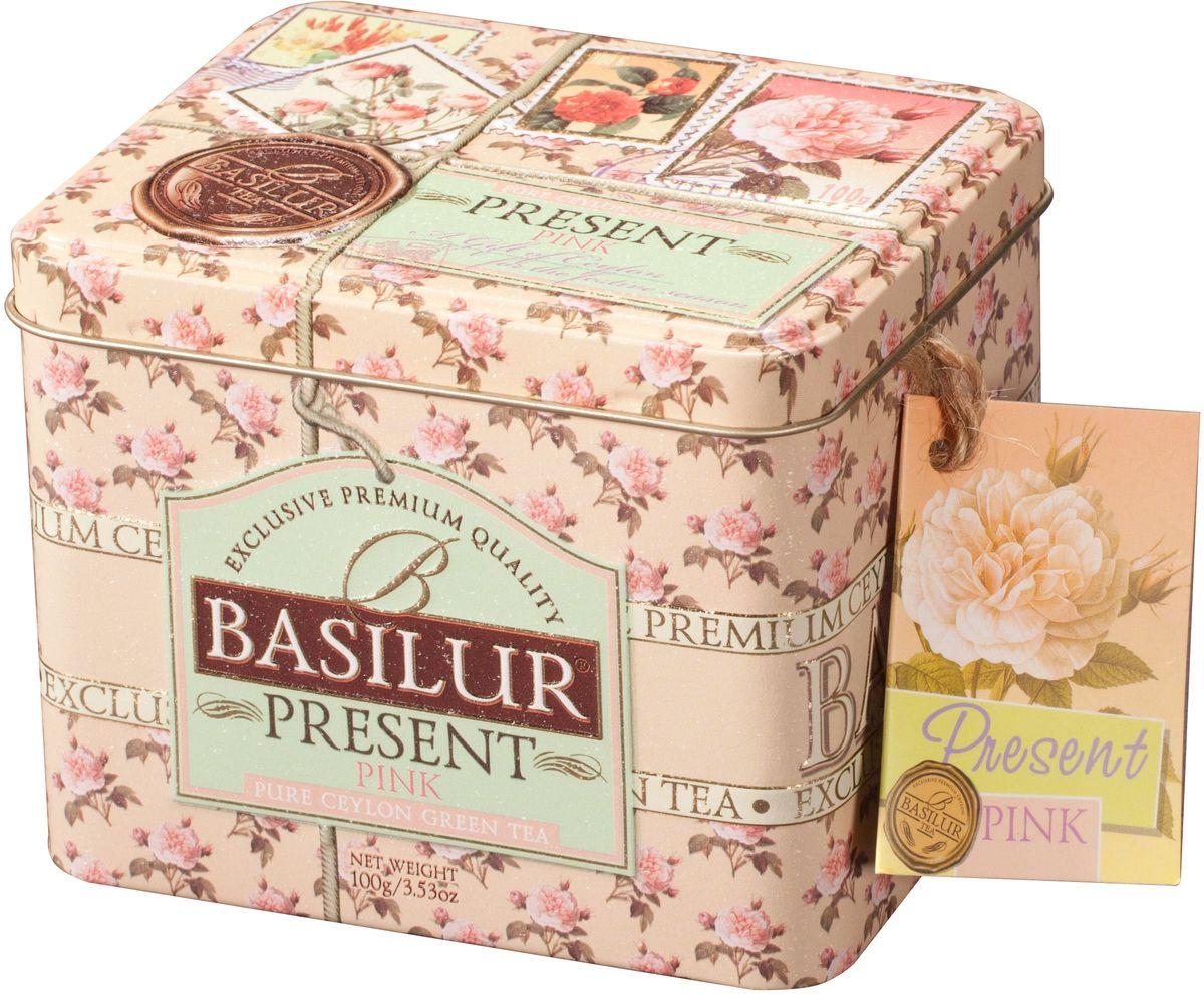 Basilur Розовый подарок зеленый листовой чай с плодами фруктов, 100 г70161-00вЗеленый цейлонский листовой чай Basilur с кусочками плодов ананаса, манго и шиповника, цветами жасмина и ароматом земляники и киви.