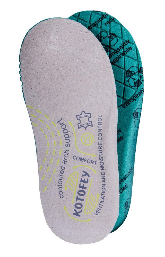 Стельки для обуви Котофей, цвет: бирюзовый. 01001007-10. Размер 34SS 4041Кожаная анатомическая стелька с гигроскопичным пеноматериалом ТМ Котофей