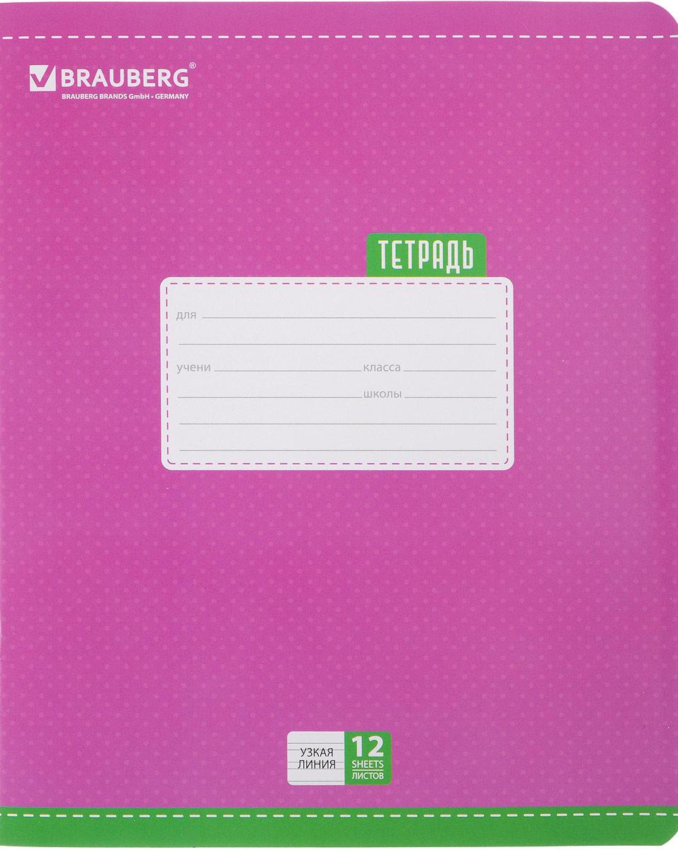 Brauberg Тетрадь Dots 12 листов в узкую линейку цвет сиреневый72523WDОбложка тетради Brauberg Dots с закругленными углами выполнена из плотного картона, что позволит сохранить ее в аккуратном состоянии на протяжении всего времени использования. На задней обложке находится русский алфавит.Внутренний блок тетради, соединенный двумя металлическими скрепками, состоит из 12 листов белой бумаги. Стандартная линовка в узкую линейку голубого цвета дополнена полями.