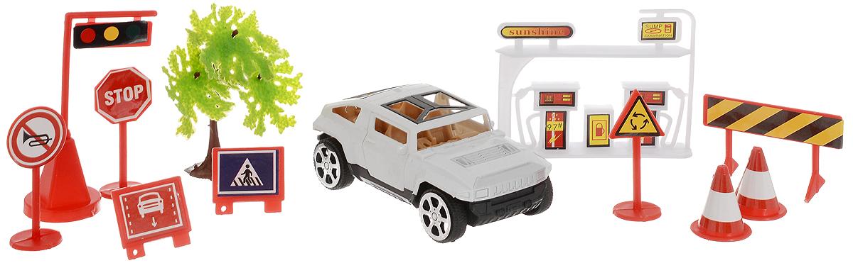 ABtoys Игровой набор Автозаправка цвет машинки белый