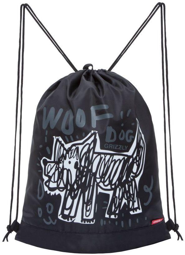 Grizzly Мешок для обуви цвет черный белый OM-790-172523WDОбъемный мешок для обуви, одно отделение, боковой карман на молнии, дополнительная ручка-петля, лямки из шнура.