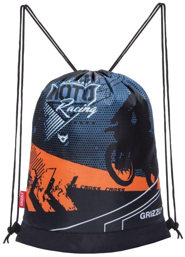 Grizzly Мешок для обуви цвет черный оранжевый OM-790-472523WDОбъемный мешок для обуви, одно отделение, боковой карман на молнии, дополнительная ручка-петля, лямки из шнура.