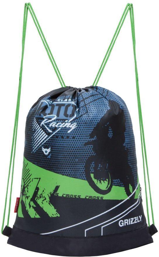 Grizzly Мешок для обуви цвет черный салатовый OM-790-472523WDОбъемный мешок для обуви, одно отделение, боковой карман на молнии, дополнительная ручка-петля, лямки из шнура.