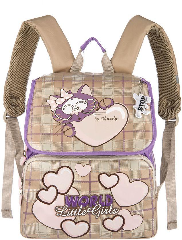 Grizzly Рюкзак школьный цвет сиреневый бежевый RA-545-2RA-545-2/2Школьный рюкзак для девочек, с клапаном, двумя основными отделениями, передним объемными карманом на молнии, объемным пеналом на передней стенке, с анатомической спинкой.