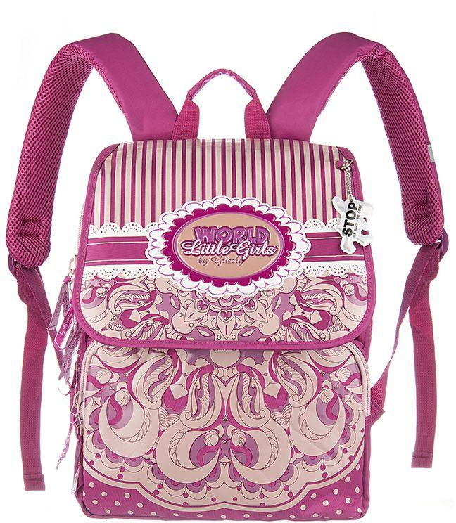 Grizzly Рюкзак школьный цвет лиловый RA-545-3RA-545-3/1Школьный рюкзак для девочек, с клапаном, двумя основными отделениями, передним объемными карманом на молнии, объемным пеналом на передней стенке, с анатомической спинкой.