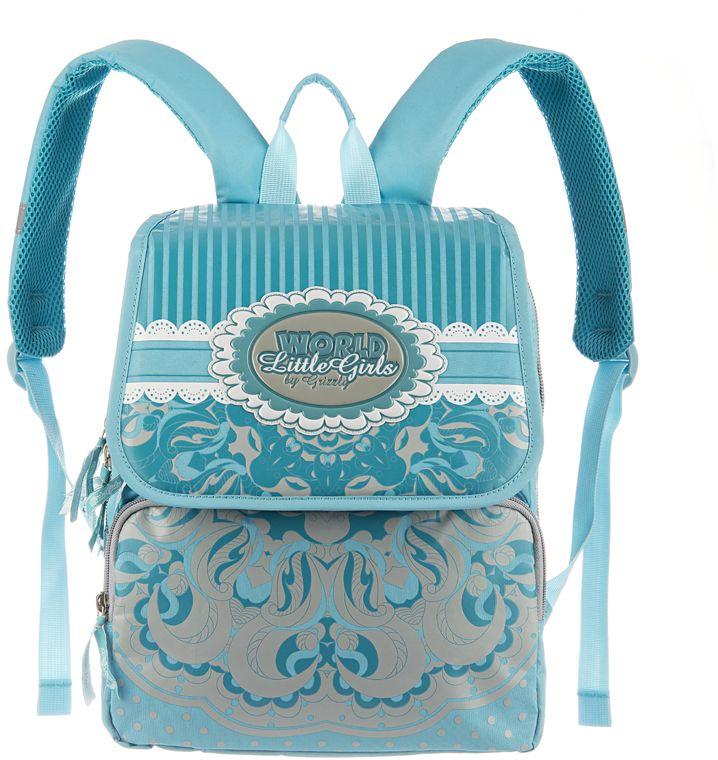 Grizzly Рюкзак школьный цвет бирюзовый RA-545-372523WDШкольный рюкзак для девочек, с клапаном, двумя основными отделениями, передним объемными карманом на молнии, объемным пеналом на передней стенке, с анатомической спинкой.
